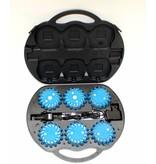 Koffer met 6 oplaadbare blauwe LED rotorlichten - magnetisch