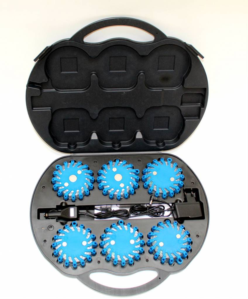 Case with 6 rechargeable blue LED rotorlights - magnetic