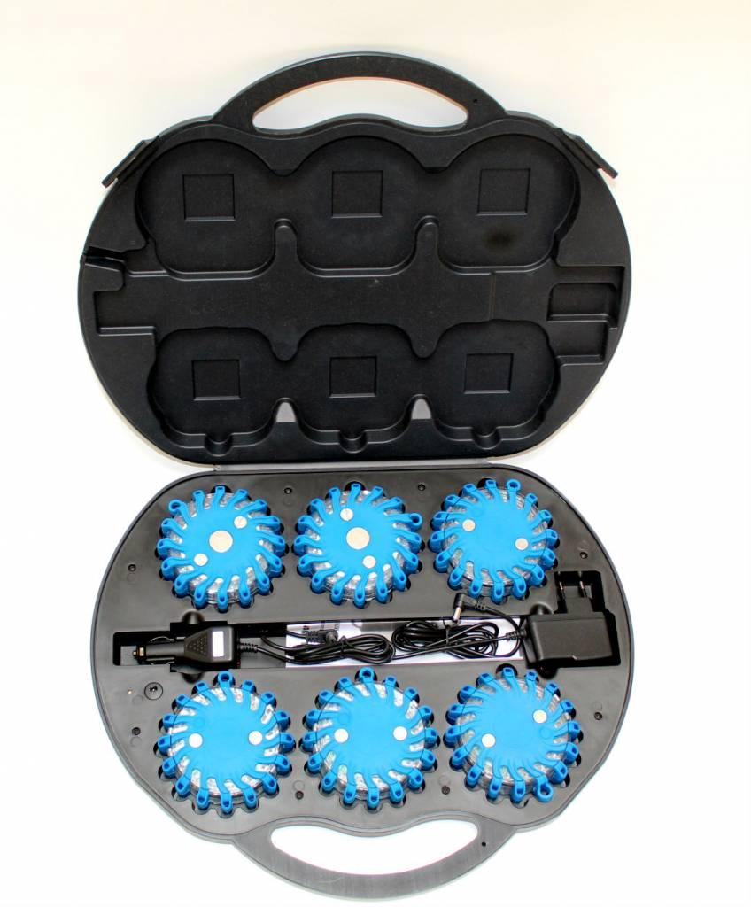 Coffre avec 6 rotorlights LED bleu rechargeable - magnétique