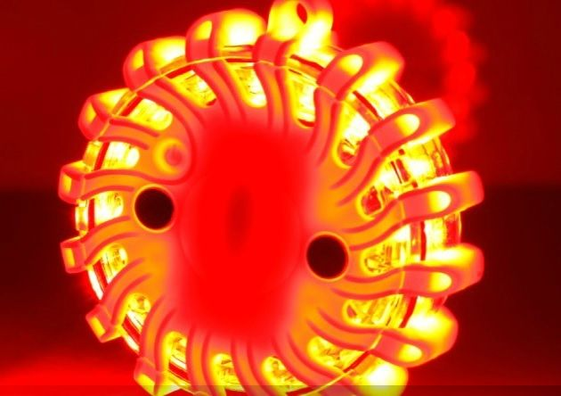 Koffer met 6 oranje oplaadbare rotorlichten - magnetisch