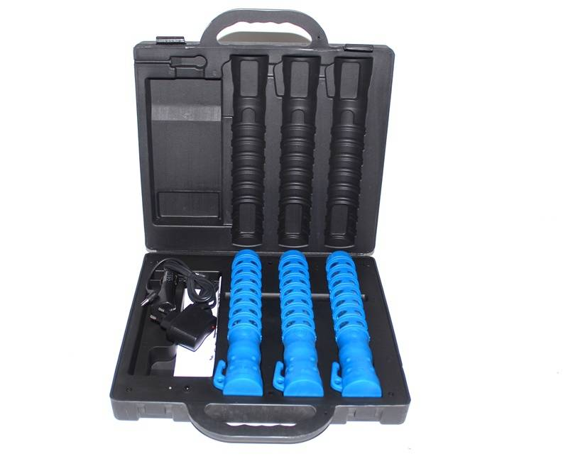 Koffer met 3 LED toortslampen (seinlampen) - oplaadbaar - oranje of blauw