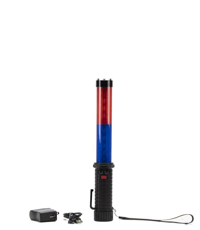 LED traffic baton - blue/red - rechargeable and multifunctional
