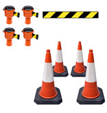 SKIPPER Skipper economy cone set 81 m2 with PU traffic cones and Skipper barrier belt units