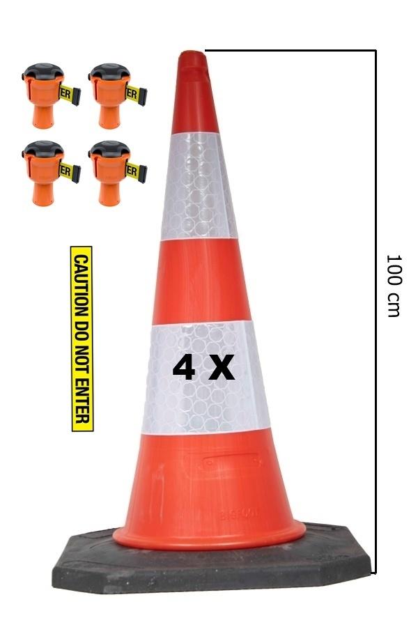 SKIPPER Skipper BIG cone set 81 m2 with 100 cm Bigfoot traffic cones and Skipper barrier belt units