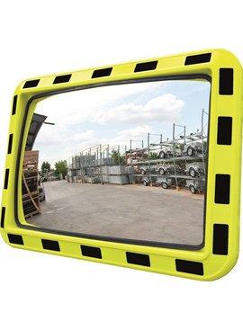 Miroir industriel 600 x 800 mm - cadre en jaune & noir
