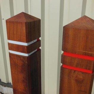 WOODEN SIDEWALK POLE 140cm 15x15cm tropical hardwood (diamond shape)