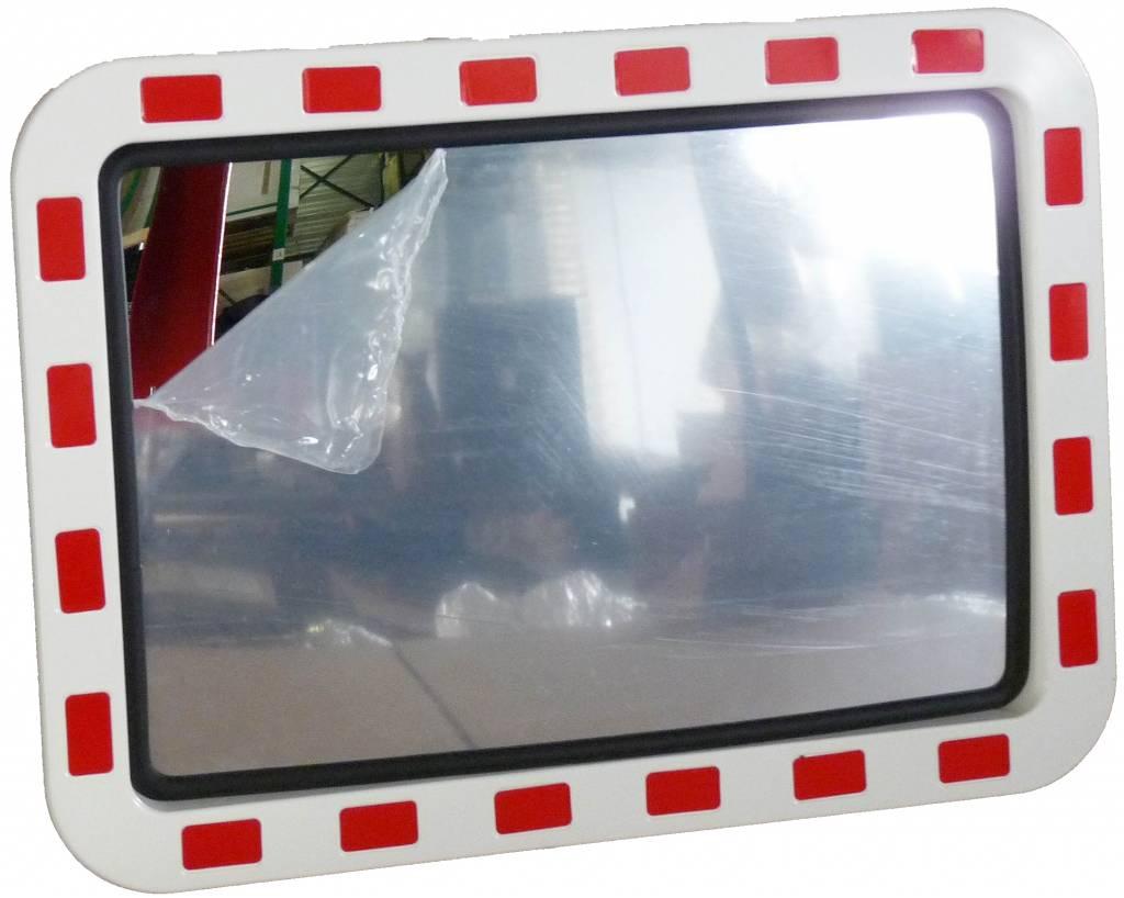 Traffic mirror 600 x 800 mm red/white
