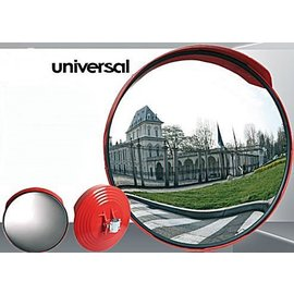 Miroir traffic universel (Rond) 600 mm - cadre rouge