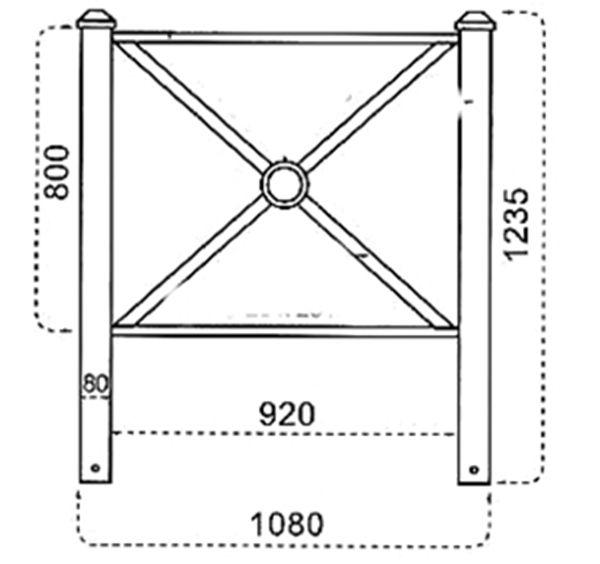 Barrière Pagode 108 x 80 cm - Vert (Ral 6009)
