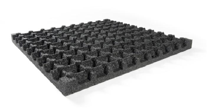CARREAUX SÉCURITÉ EN CAOUTCHOUC 100 x100 x 7.5 cm noir