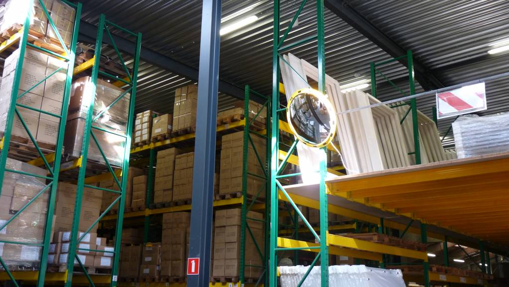 Miroir industriel (Rond) 800 mm - cadre en jaune et noir