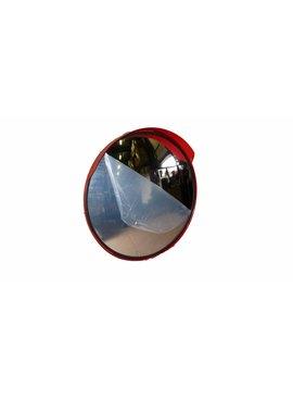 Mirror universal Round 400 mm red frame