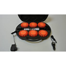 Coffre avec 6 rotorlights orange rechargeable