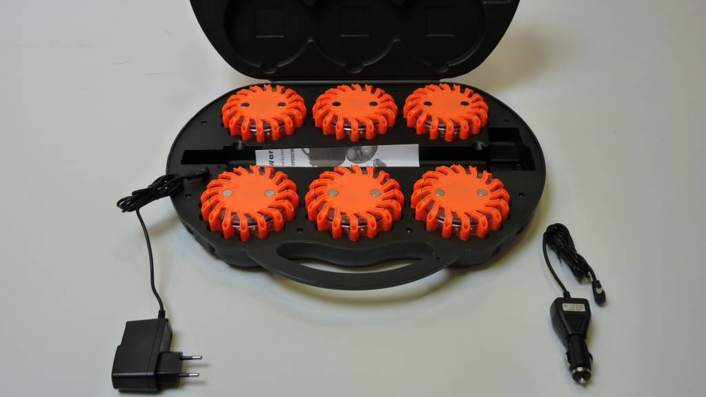 Case with 6 orange rechargeable  rotor lights - magnetic