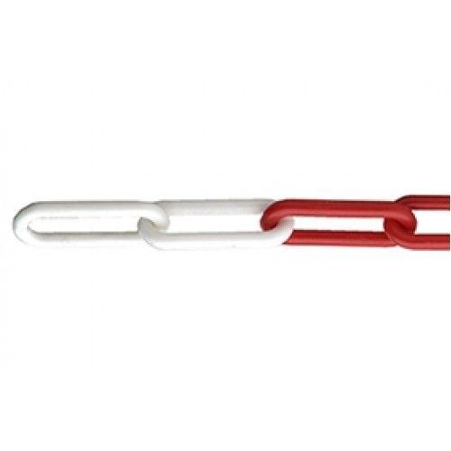 Rood / Witte kunststof ketting 25 meter, Ø 6 mm