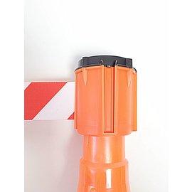 Dérouleurs de sangle et support  pour cônes de signalisation, 3 m x 50 mm Rouge Blanc.