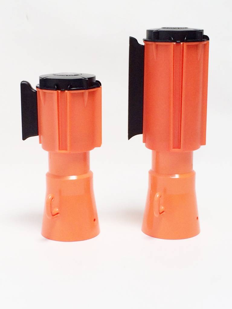 Retractable barrier tape + support for traffic cones, 3 m x 50 mm Red White.