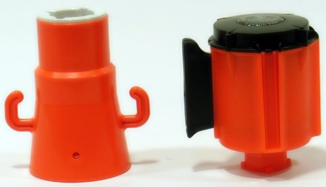 Afrolbaar afzetlint voor op verkeerskegels, 3 m x 100 mm, Rood Wit.