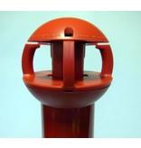 Aluminium paal 97 cm x Ø 60 mm, 4 haken + voetstuk met 2 reflectoren