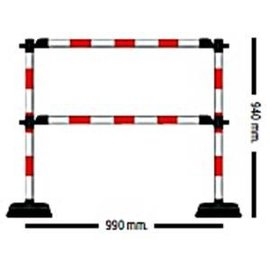 "1 meter ""Express"" barrière met 2 dwarsliggers Rood / Wit"