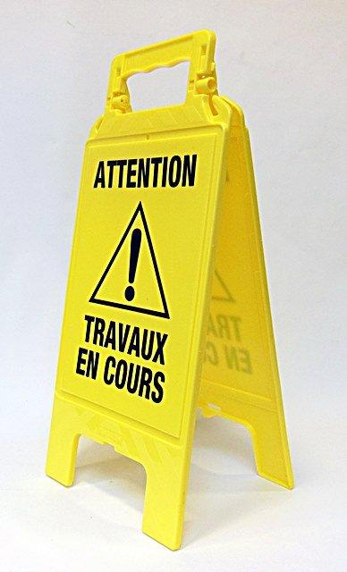 """Chevalet de signalisation """"Travaux en cours"""""""