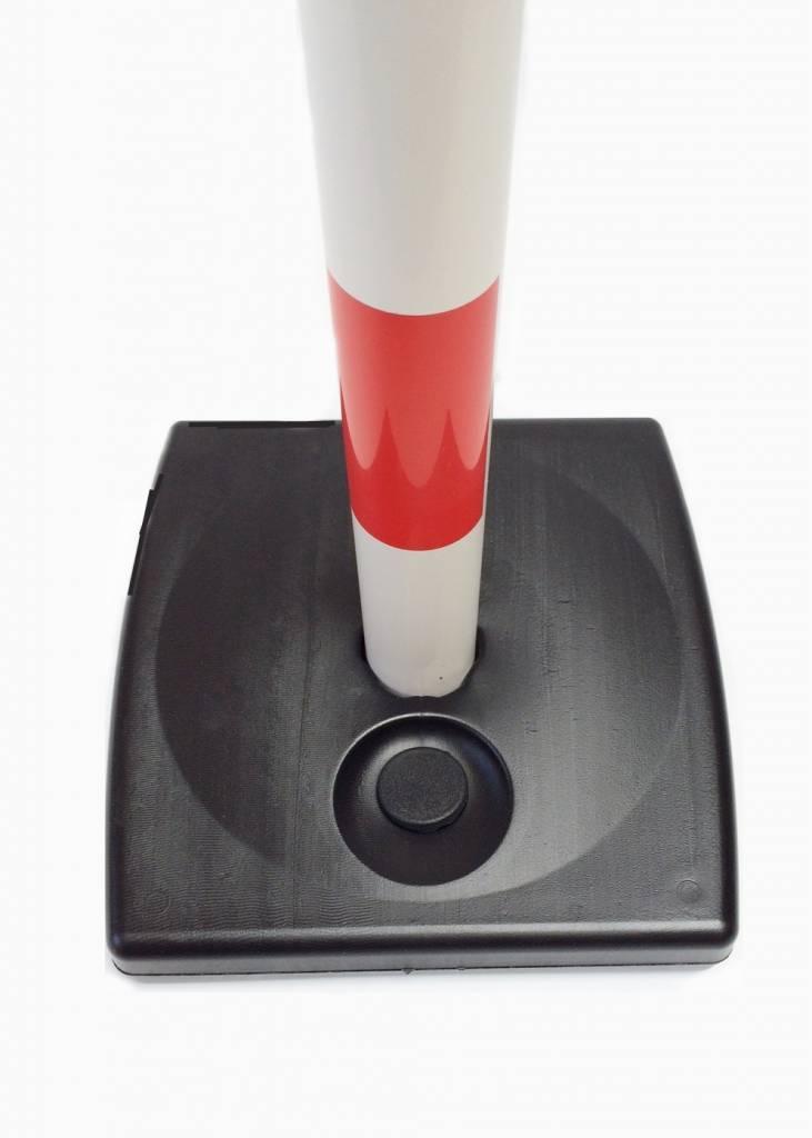 Poteau PVC socle chantier 4 kg à lester, 90 cm, Rouge / Blanc