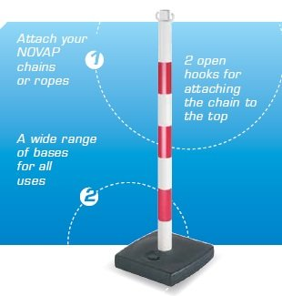 PVC post with fillable base as ballast 4 kg, 90 cm, red / white