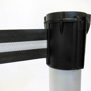 Alu paaltje met oprolbaar afzetlint kleur zwart / zilver 3 m.