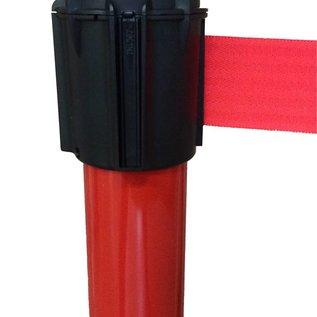 Poteau Alu Rouge laqué à sangle Rouge 3m x 50mm sur socle balise