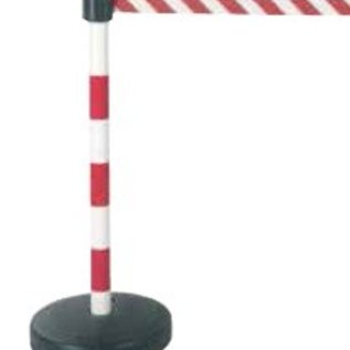 PVC post with 50 mm belt head. 3 red / white -. Fillable base 9 kg.