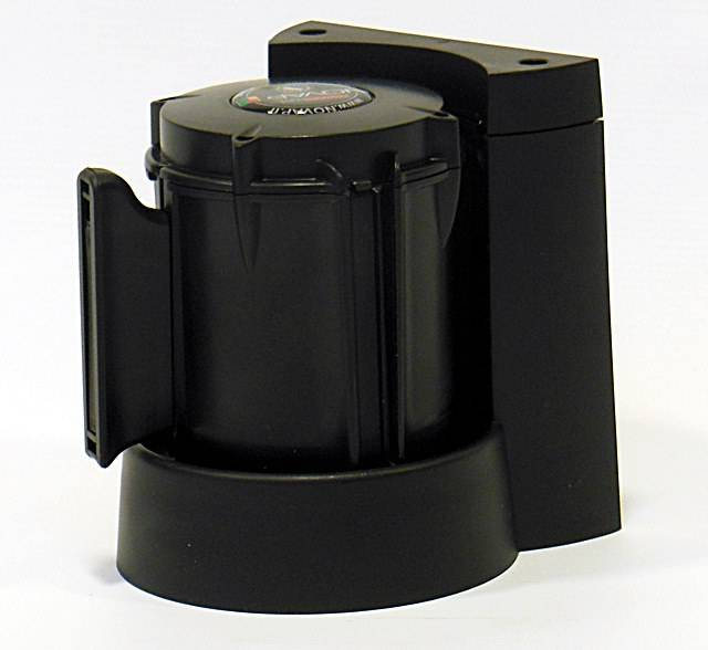 Haspel en muurbevestiging met afzetlint van 3 m x 50 mm  Rood - Zwart