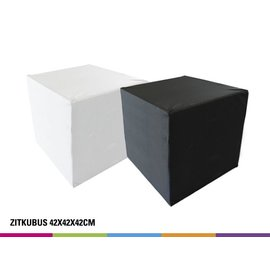 Zitkubus 42cm - Wit of Zwart (onbedrukt)