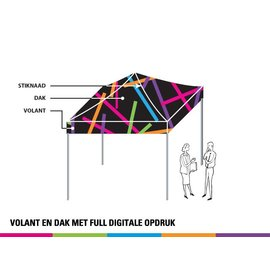 2x2M TENT - VOLANT EN DAK MET FULL DIGITALE OPDRUK