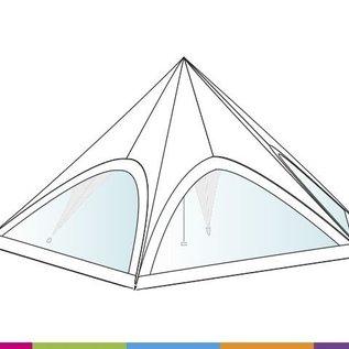 Zijwand Startent - Panoramavenster - Wit ST80 (17M) KR (Velcro)