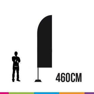 Beachvlag straight 460 x 85 cm. Doek en mast uit aluminium 25 mm