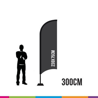VLAG STRAIGHT 300 X 75CM ALU MAST 28MM  (PROFESSIONAL)