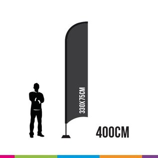 VLAG STRAIGHT 400 X 75CM ALU MAST 28MM  (PROFESSIONAL)