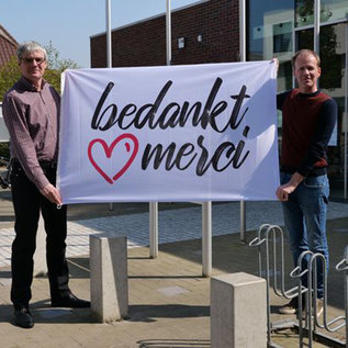 Flag 100x150 cm :  reinforced and 2 eye lets - Bedankt -  bedanktmerci