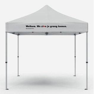"""Foldable tent:  """"""""welkom. We zien je graag komen."""