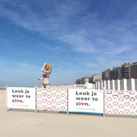 Strandscherm met bedrukking (400x100cm)
