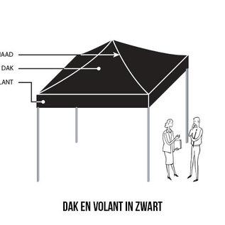Vouwtent 3x3M dak en volant in zwart