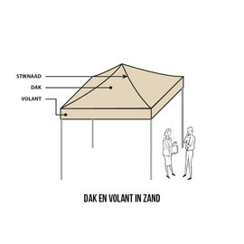 4x4M TENT -ROOF AND VALANCE SAND