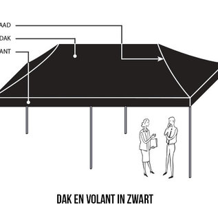 6X3M TENT - ROOF AND VALANCE BLACK