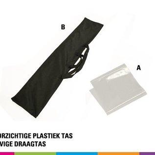 Beachvlag square 385 cm x 85 cm. Doek en mast uit aluminium 25 mm