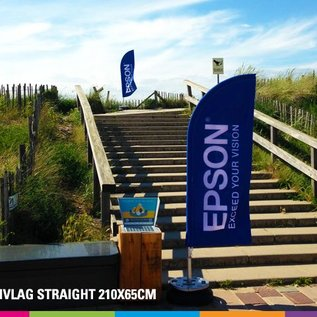 Beachvlag straight 210 x 65 cm. Doek en mast uit aluminium 25mm