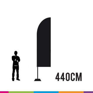 Beachvlag straight 440 x 65 cm. Doek en mast uit aluminium 25 mm