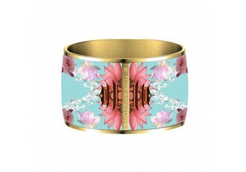 Flor Amazona Enamel Bangle, Samourai Dream, gold plated 24kt