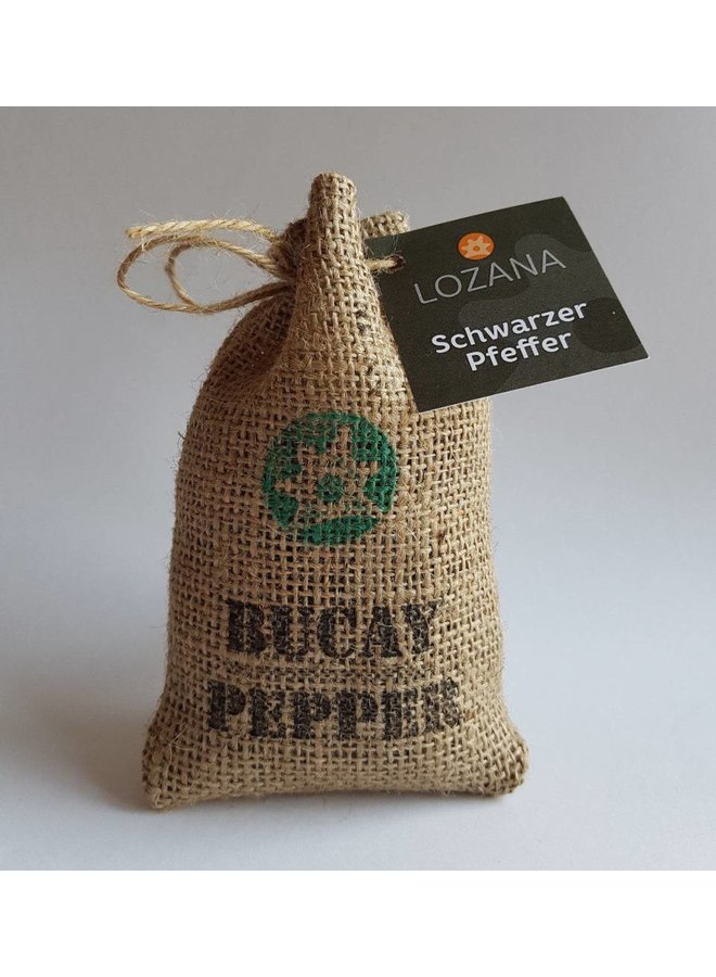 Black Pepper Bucay Pepper, Harvest 2017, Jute sack of gift wrap