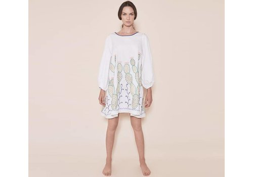 "SANTA LUPITA DRESS ""THE NOPALES DRESS"" WHITE - MEXICO"
