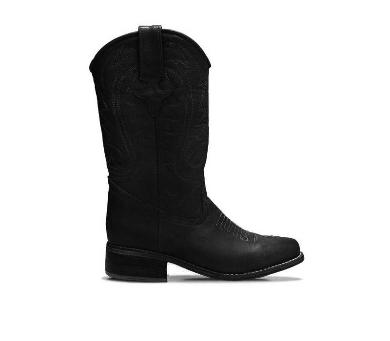 """COWBOY BOOTS """"WHISKY"""", 100% LEATHER FROM URUGUAY - BLACK"""